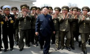 Kim Jong-un accompanied by officers of the Korean People's Army