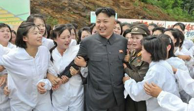 Kim Jong Un mobbed by women