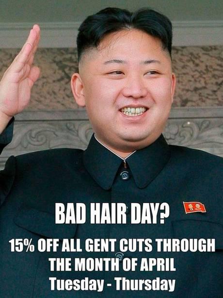London barber poster Kim Jong Un haircut