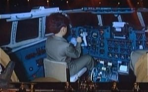 Young kim-jong un airplane cockpit
