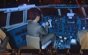 Young kim-jong un airplane cockpit