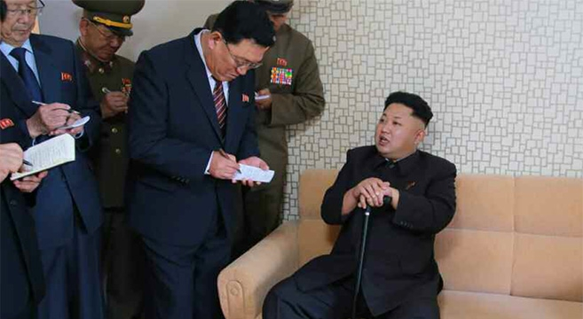 Kim Jong with cane Oct 2014